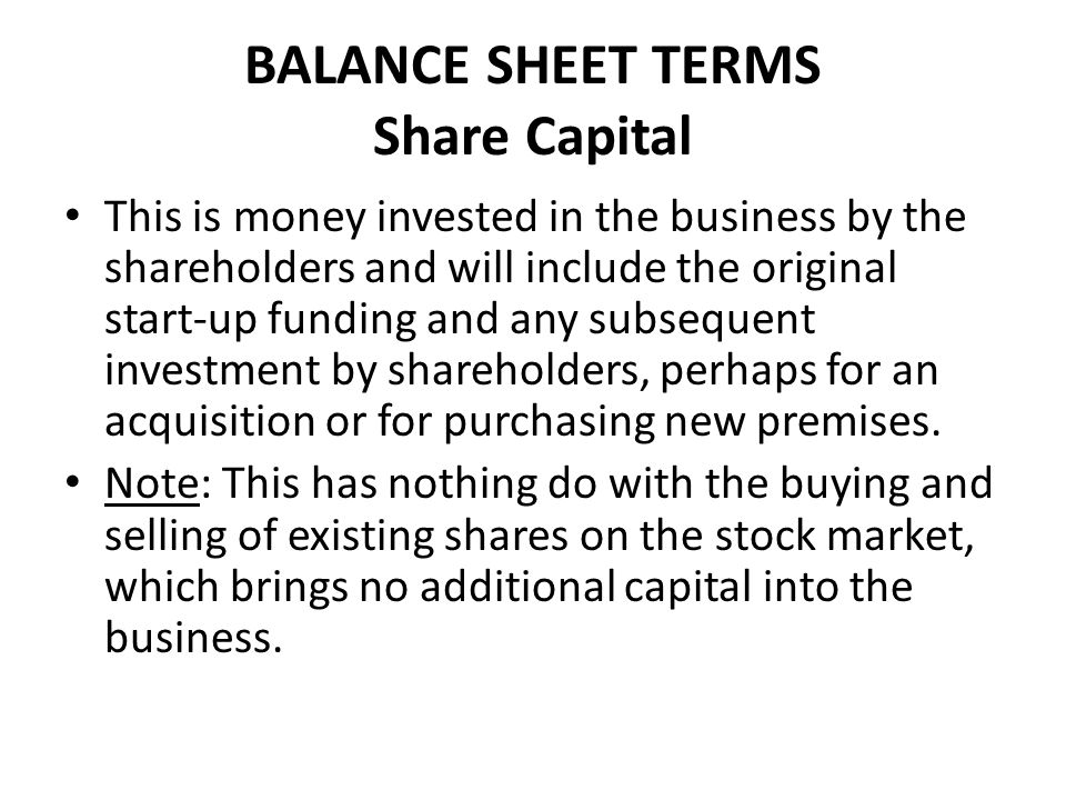 BALANCE SHEET TERMS Share Capital