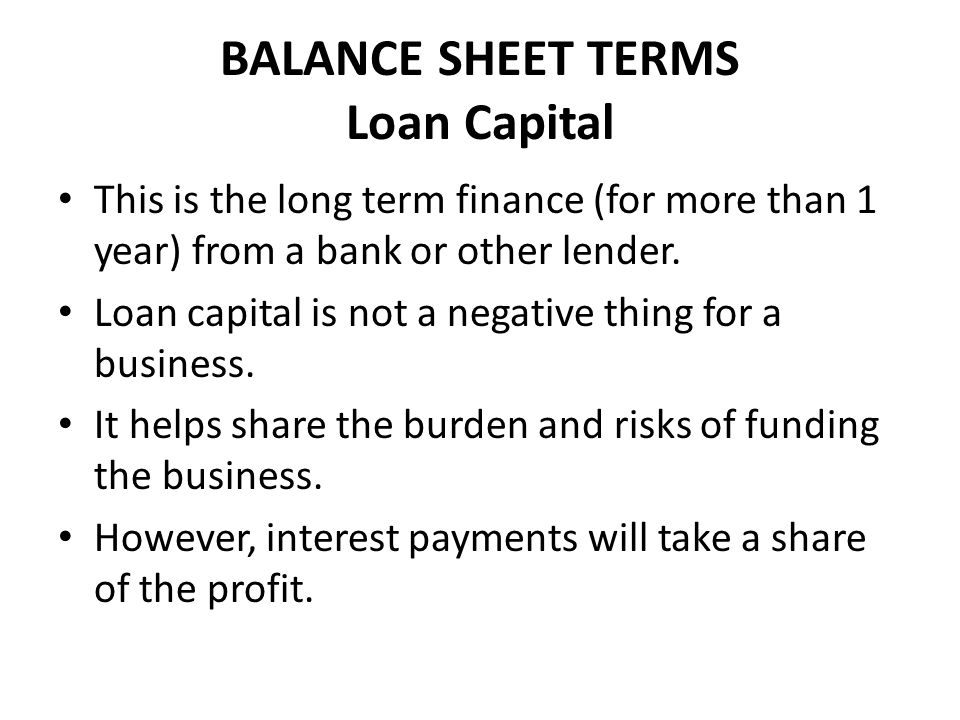 BALANCE SHEET TERMS Loan Capital