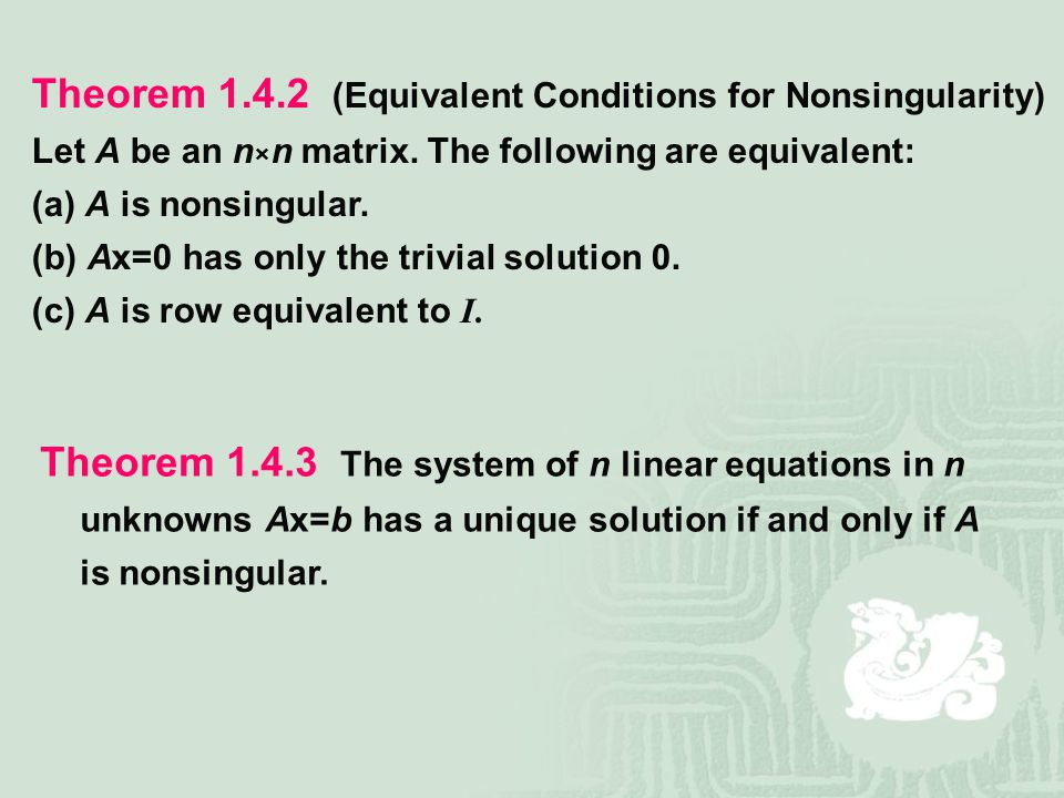 Theorem (Equivalent Conditions for Nonsingularity)
