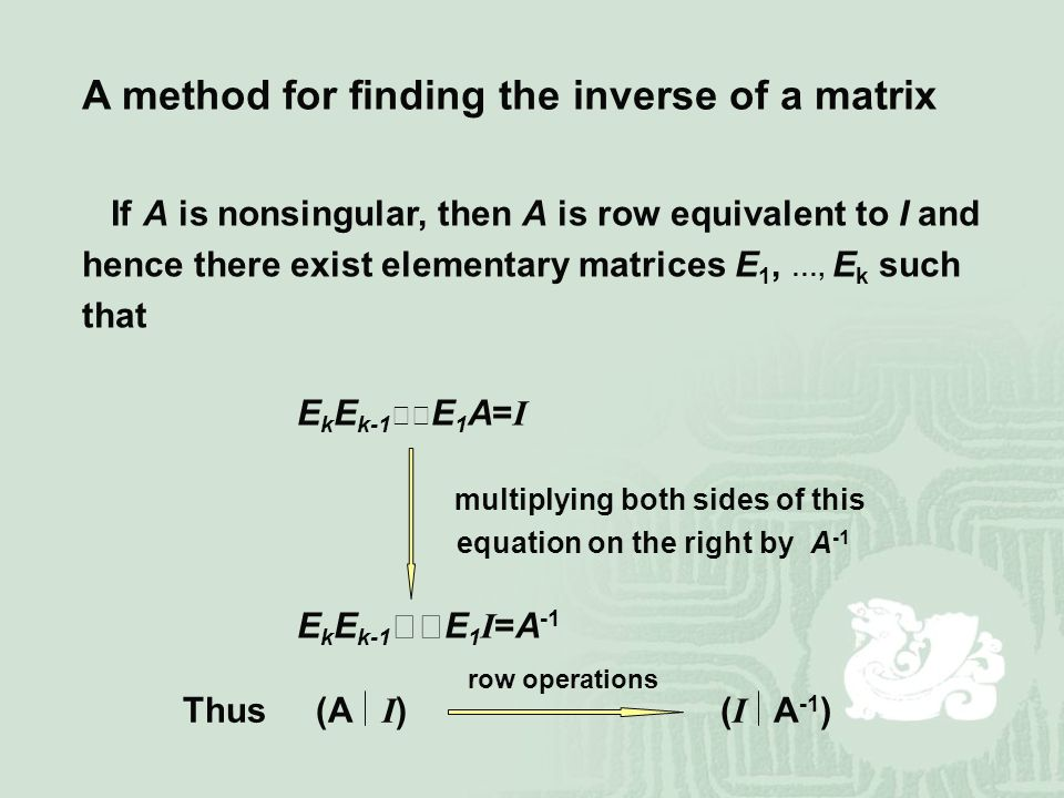 A method for finding the inverse of a matrix