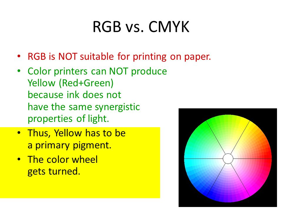 Color Printers Can NOT Produce Yellow Red Green Because Ink Does Not Have The Same Synergistic Properties Of Light Thus Has To Be A Primary