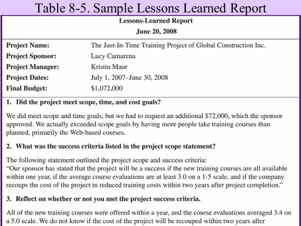 lesson learned report A report of lessons learned should address some key issues: assessment of goals and objectives identification of activities or areas needing additional effort.