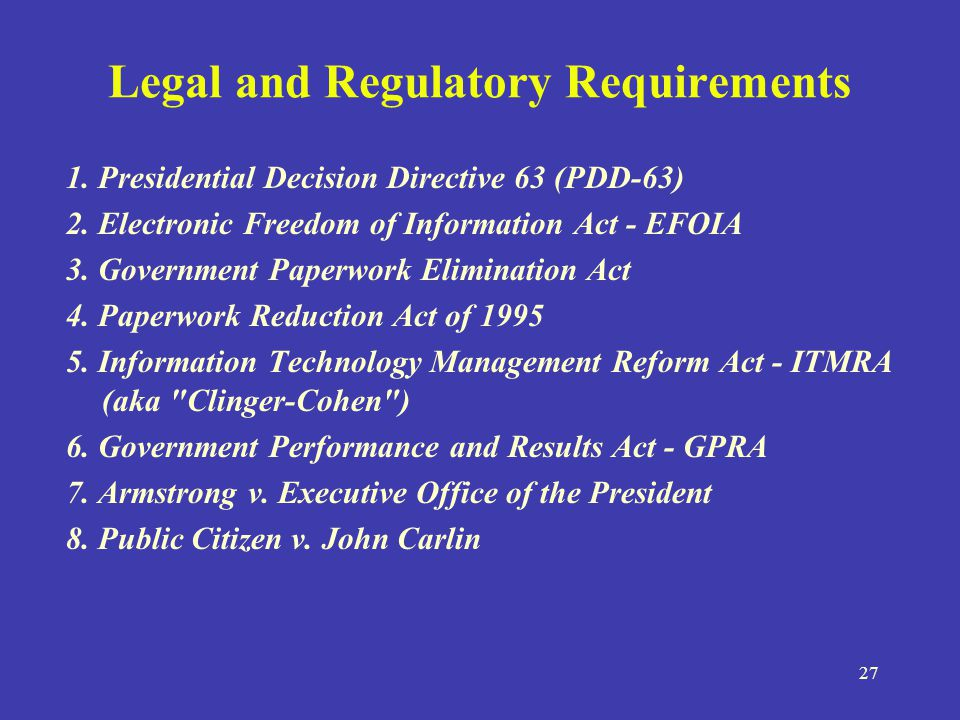 legal and regulatory requirements Legal, safety, and regulatory requirements legal, safety, and regulatory requirements introduction common sense and compassion are two things, which are slowly, and steadily wiped out of the workplace.