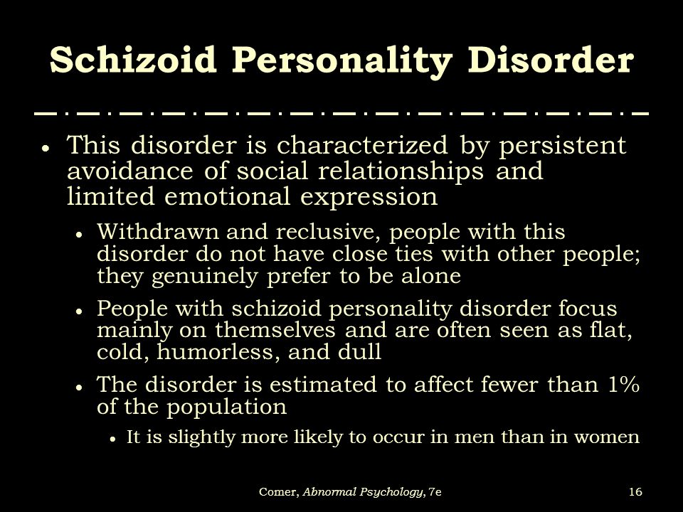 Celebrity with schizoid personality disorder