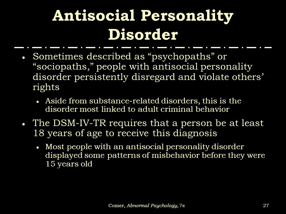 according adult antisocial behavior dsm iv