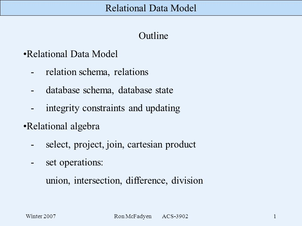 - relation schema, relations - database schema, database state