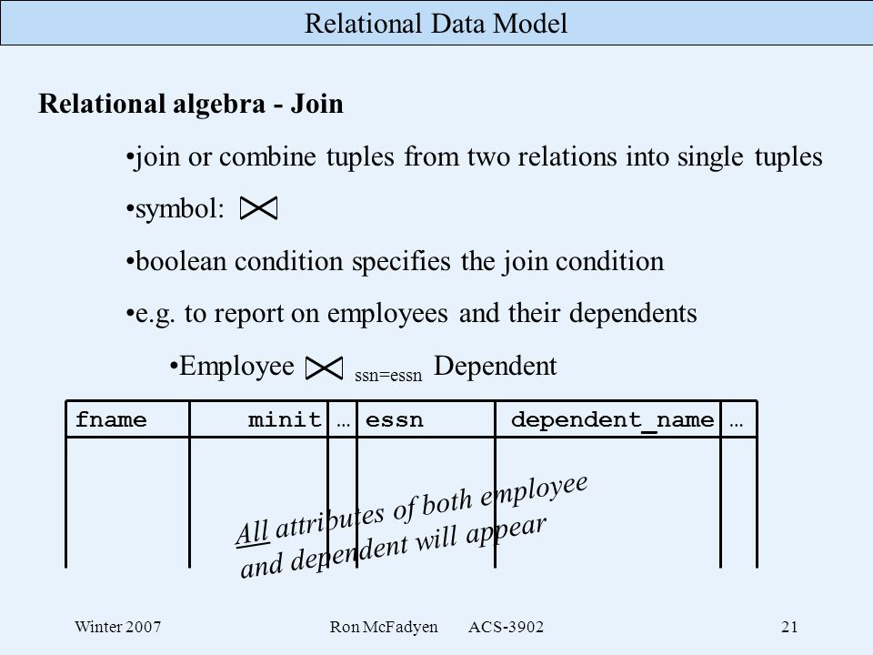 Relational algebra - Join