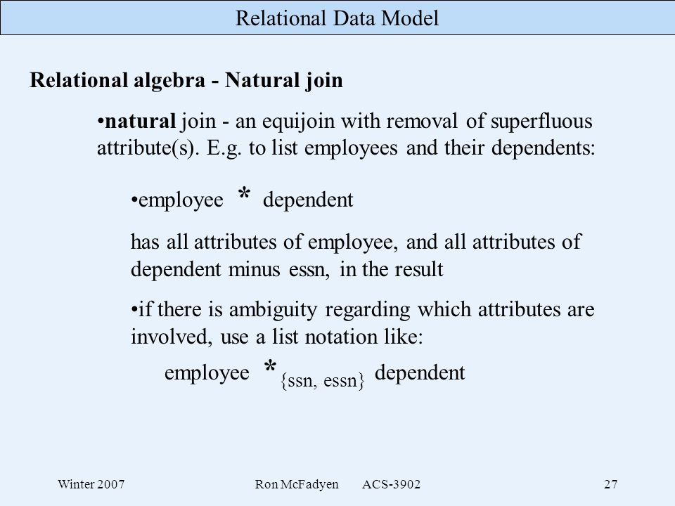 Relational algebra - Natural join