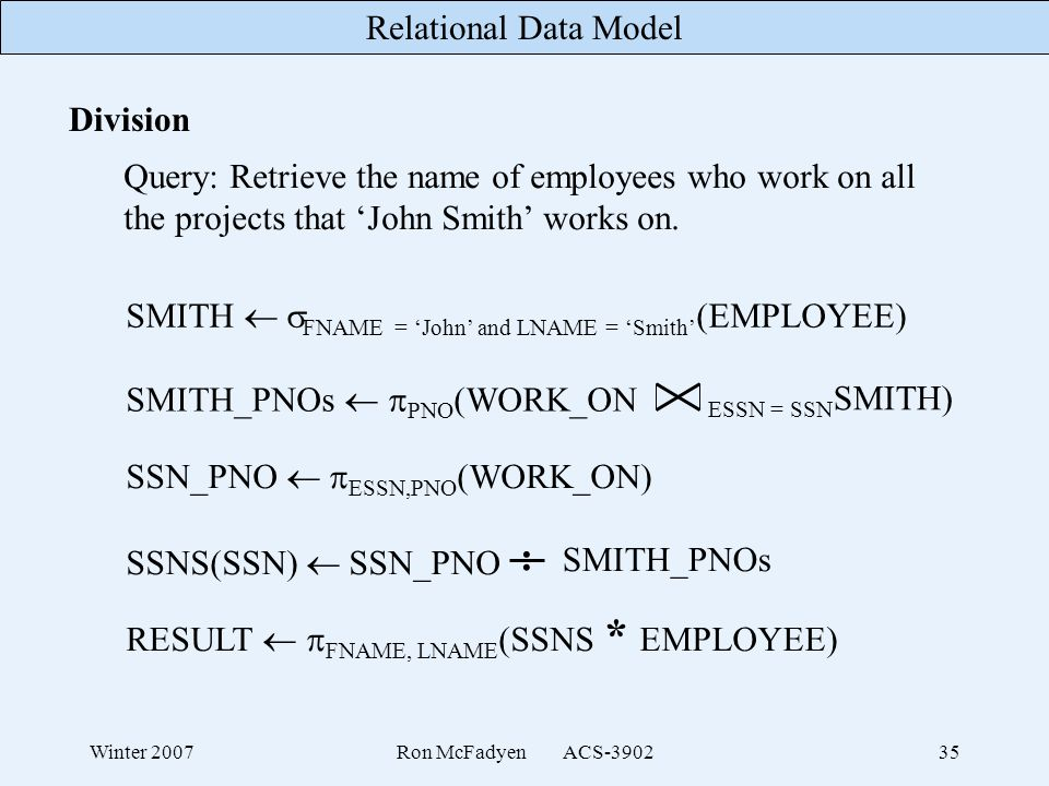 : Division Query: Retrieve the name of employees who work on all