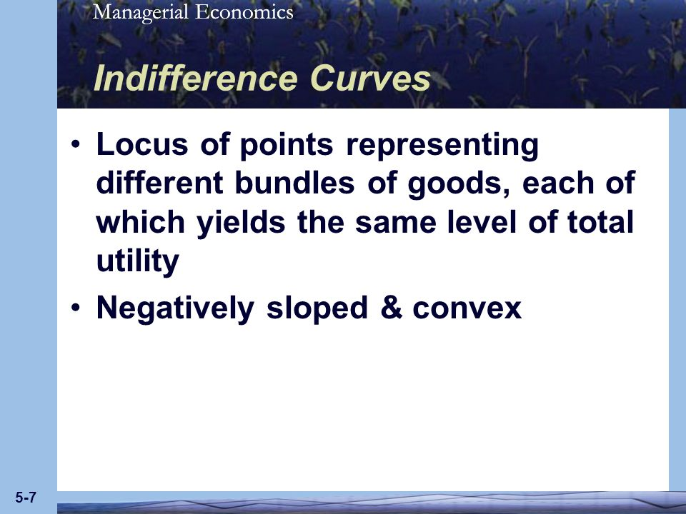 Indifference Curves Locus of points representing different bundles of goods, each of which yields the same level of total utility.
