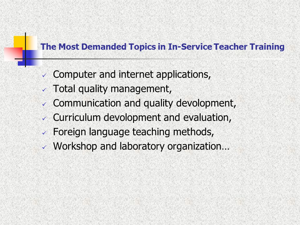 The Most Demanded Topics in In-Service Teacher Training