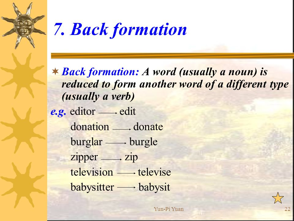 Back Formation Back Formation: A Word (usually A Noun) Is Reduced  Another Word For Babysitter