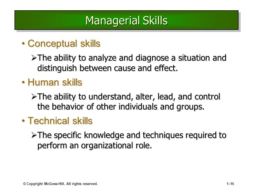 what is the relation between human skill and conceptual skill and technical skill Human skills, also called human relation skills, require communication and attention to relationships with others they are expected to have more technical skill and less conceptual skill than the managers above them because they are 'closer to the ground.