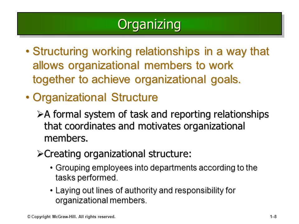 Organizing Structuring working relationships in a way that allows organizational members to work together to achieve organizational goals.