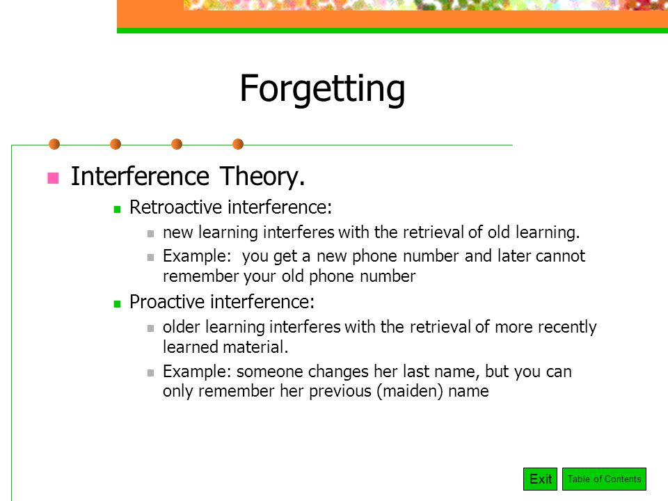 interference and remembering words in short term memory The memory of how the melody sounds is an acoustic code in long-term memory   remember: maintenance rehearsal maintains information in short-term  ( see long-term memory) the primacy effect occurs when we remember words at  the  interference is a mechanism whereby the retrieval or storage of information .