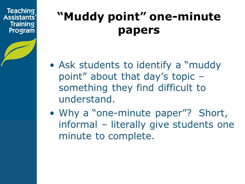 Muddy point one-minute papers