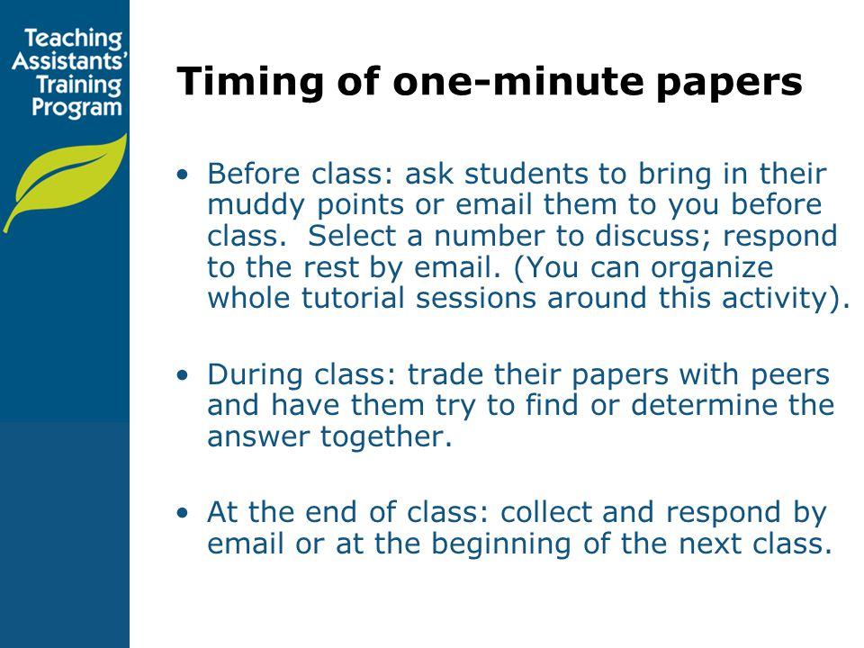 Timing of one-minute papers