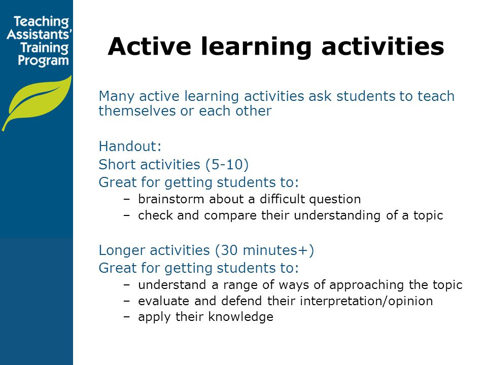 Active learning activities
