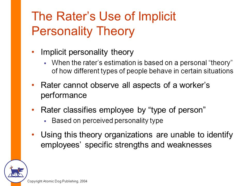 The Rater's Use of Implicit Personality Theory