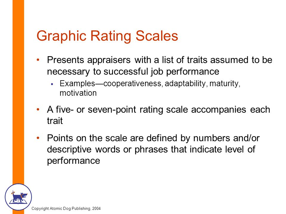 Graphic Rating Scales Presents appraisers with a list of traits assumed to be necessary to successful job performance.
