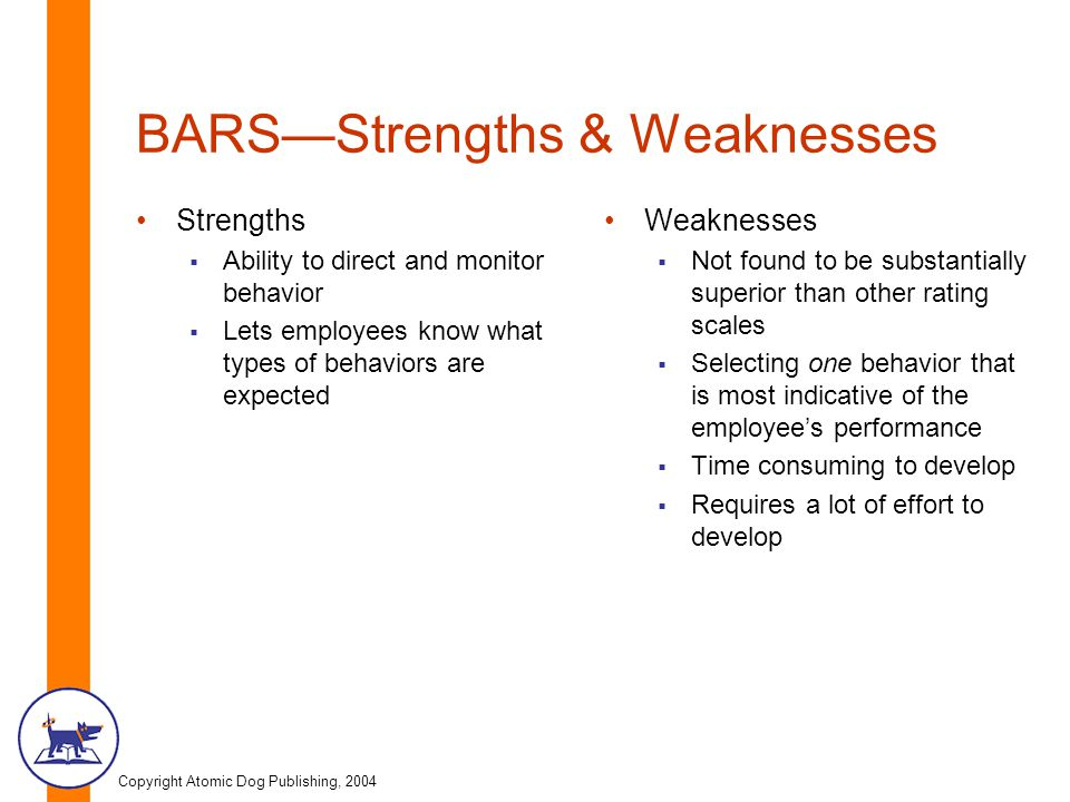 BARS—Strengths & Weaknesses