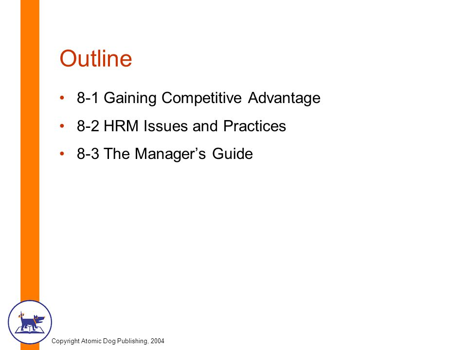 Outline 8-1 Gaining Competitive Advantage 8-2 HRM Issues and Practices