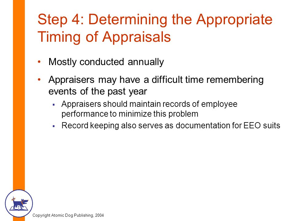 Step 4: Determining the Appropriate Timing of Appraisals