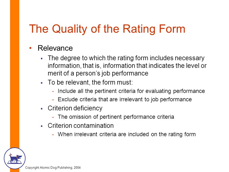 The Quality of the Rating Form
