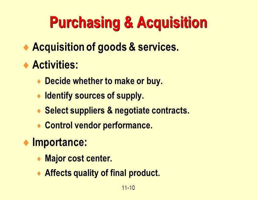 Purchasing & Acquisition