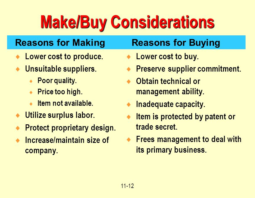 Make/Buy Considerations