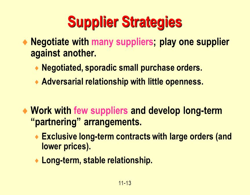 Supplier Strategies Negotiate with many suppliers; play one supplier against another. Negotiated, sporadic small purchase orders.