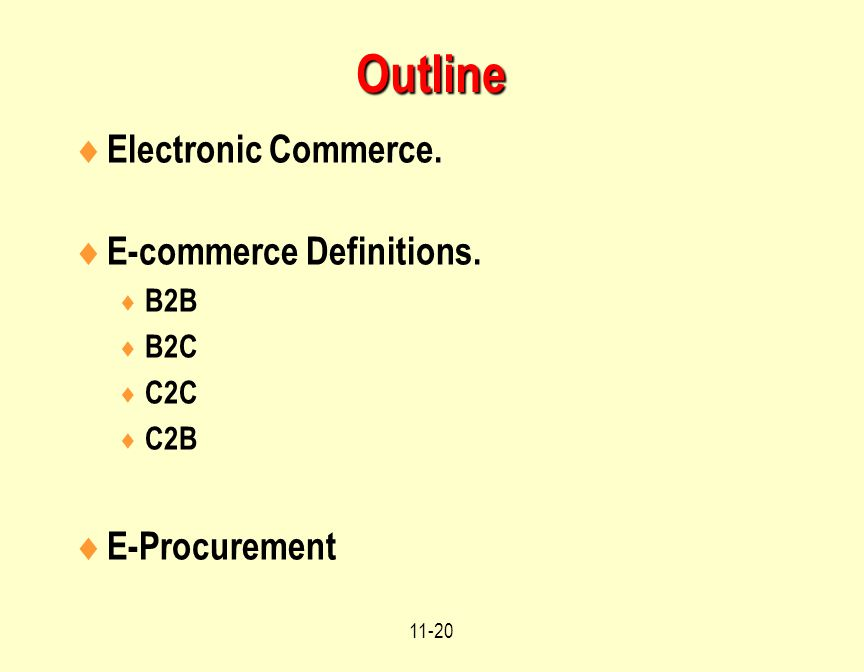 Outline Electronic Commerce. E-commerce Definitions. E-Procurement B2B