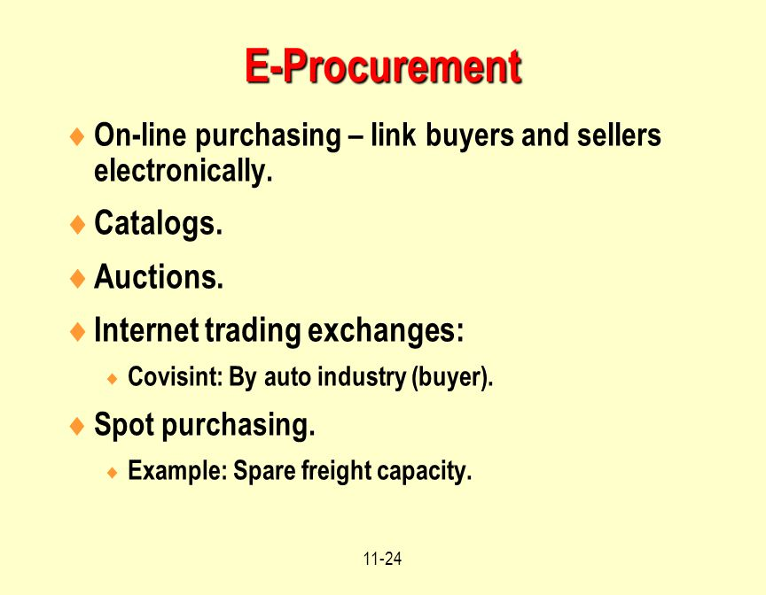 E-Procurement Catalogs. Auctions. Internet trading exchanges: