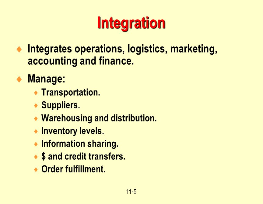 Integration Integrates operations, logistics, marketing, accounting and finance. Manage: Transportation.