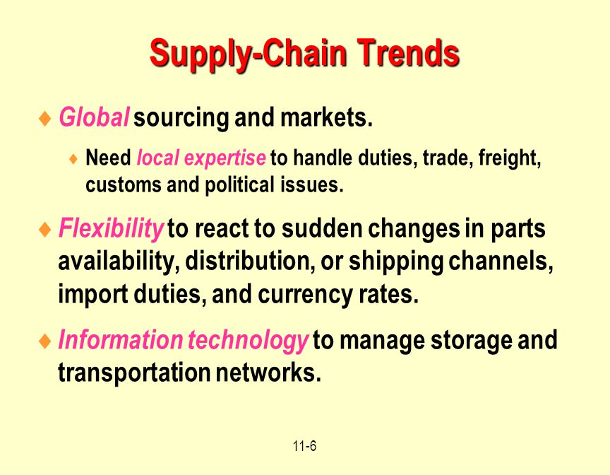 Supply-Chain Trends Global sourcing and markets.