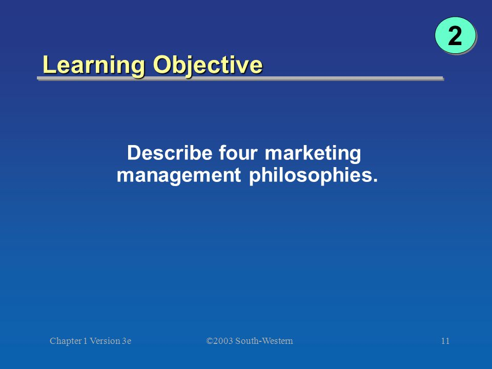Describe four marketing management philosophies.