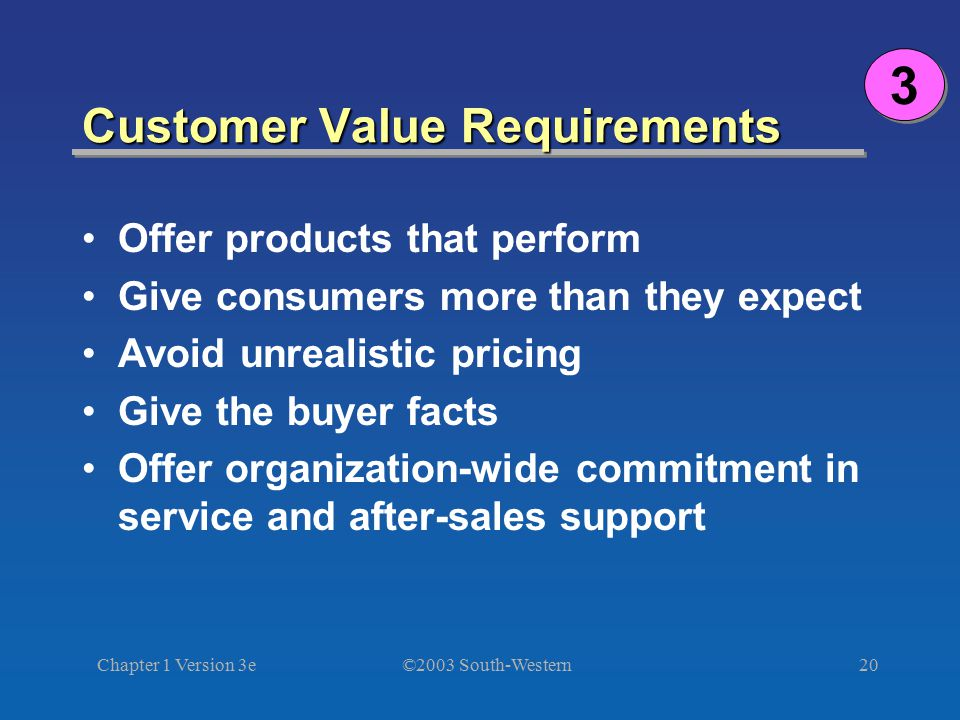 Customer Value Requirements
