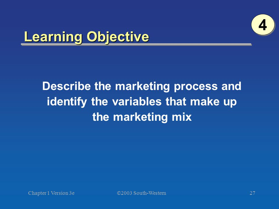Describe the marketing process and identify the variables that make up