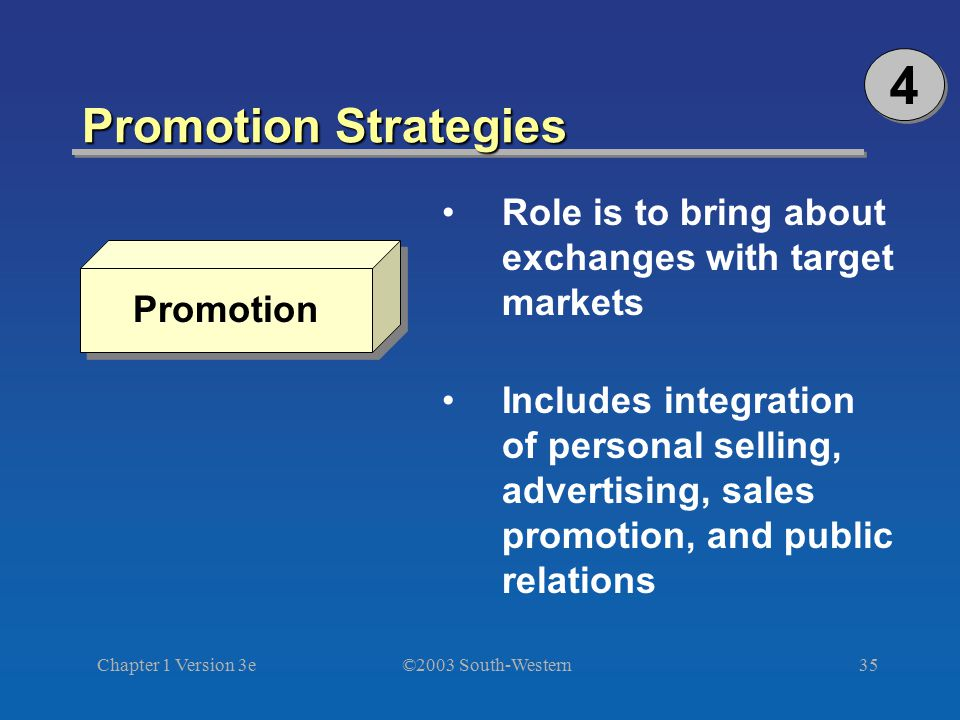 4 Promotion Strategies. Role is to bring about exchanges with target markets.