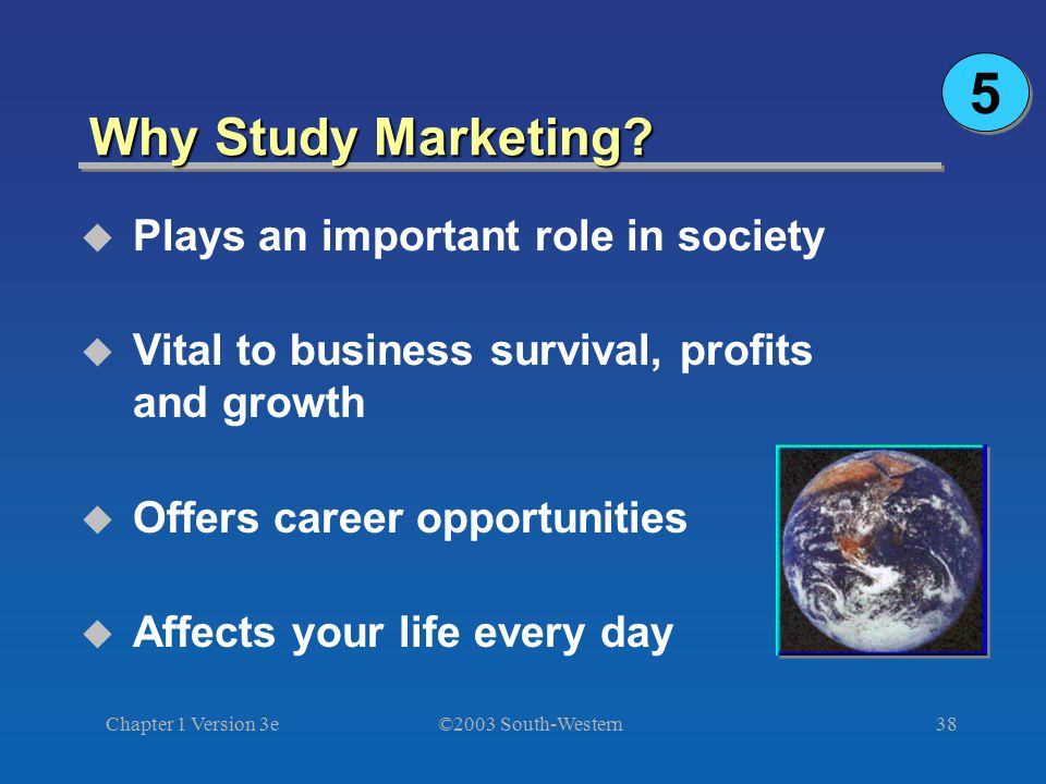 5 Why Study Marketing Plays an important role in society