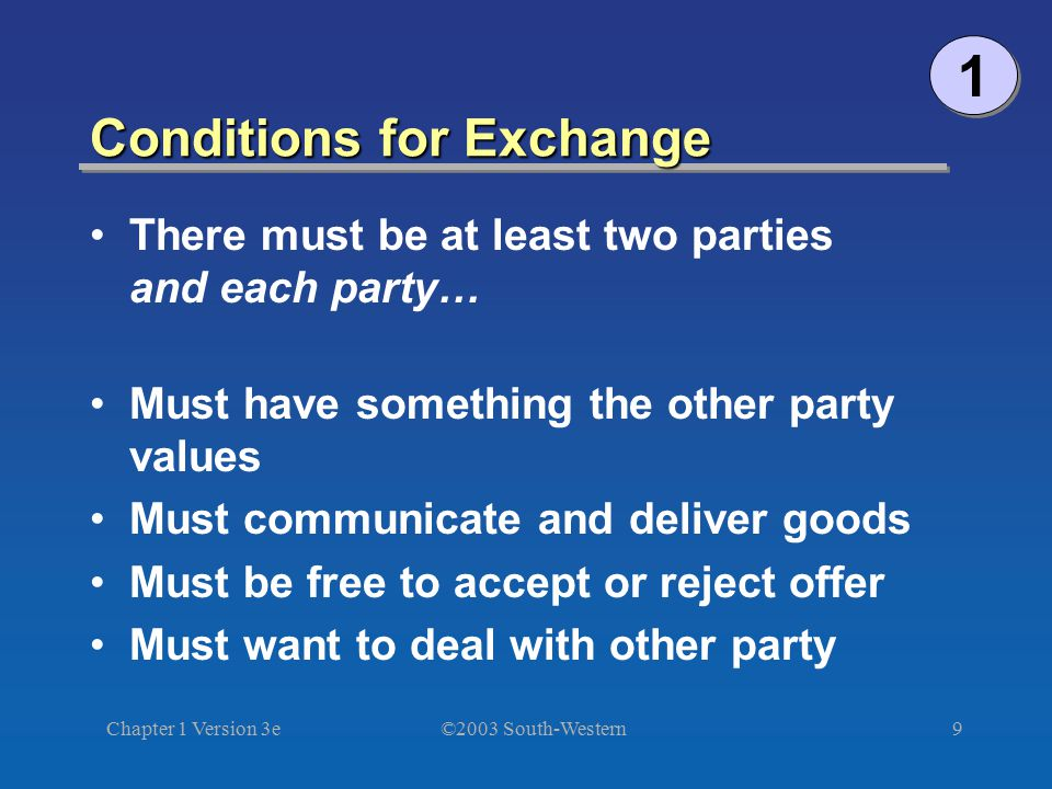 Conditions for Exchange