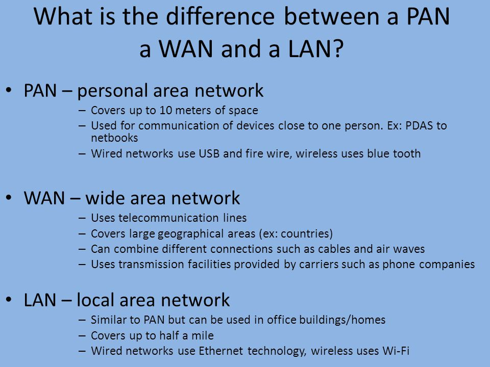 relationship between lans and wans the internet