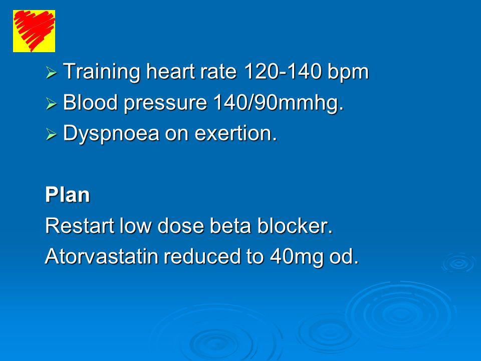 Training heart rate 120-140 bpm