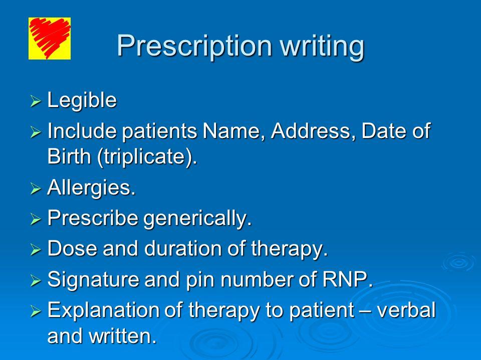Prescription writing Legible