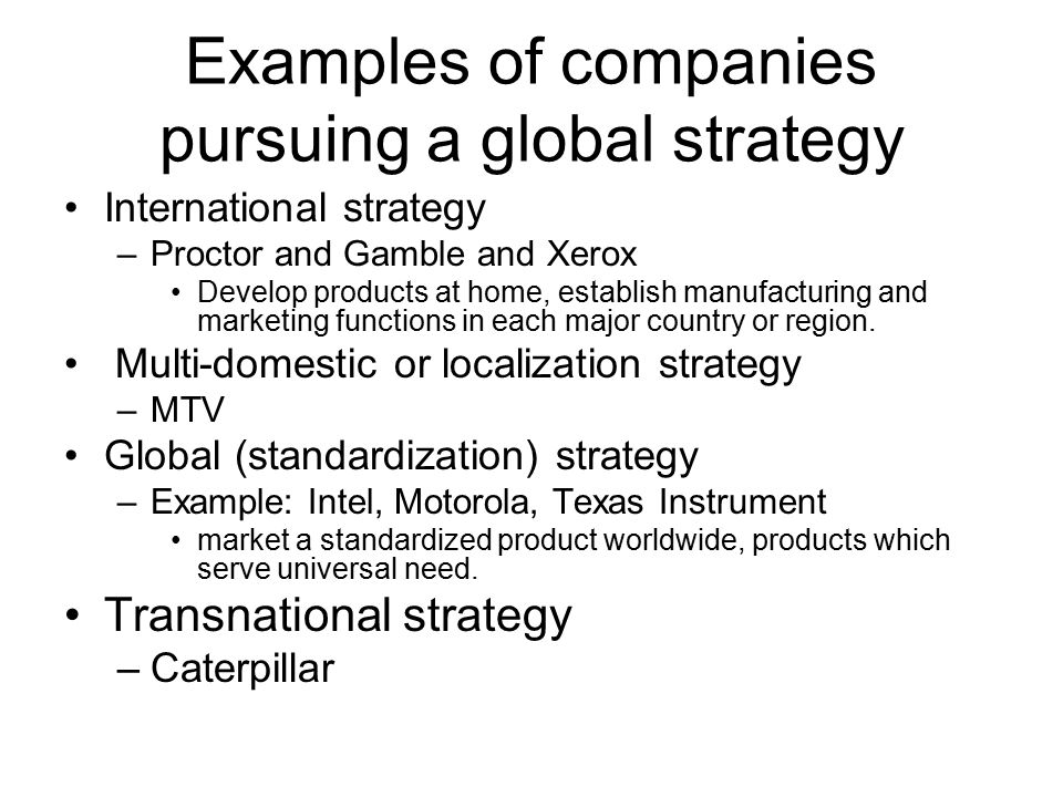 standardized vs localized strategy Standardization vs adaptation levitt the practice of global branding and localized marketing adaptation to differences in core product strategy: involves using a standardized strategy for the core product worldwide, but varying certain aspects of the offering (product ingredients.