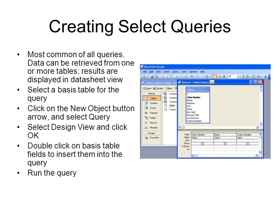 Creating Select Queries