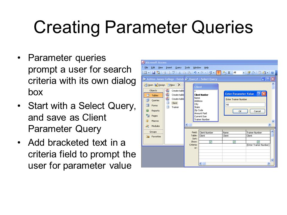 Creating Parameter Queries