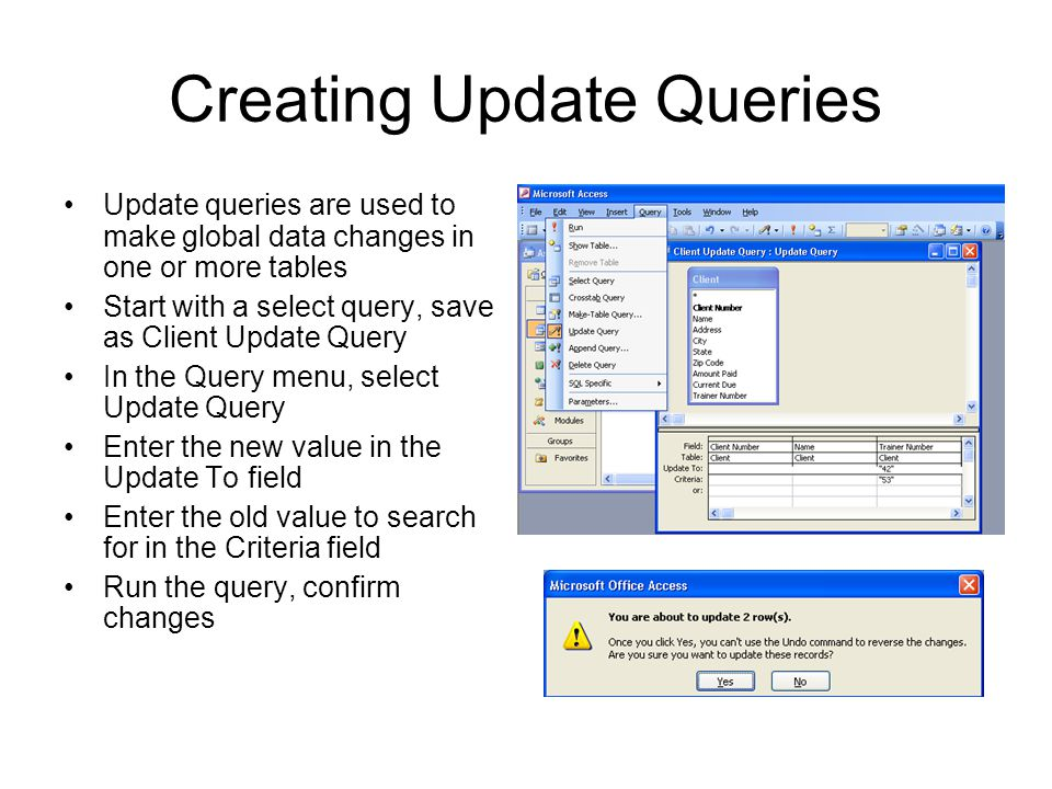Creating Update Queries
