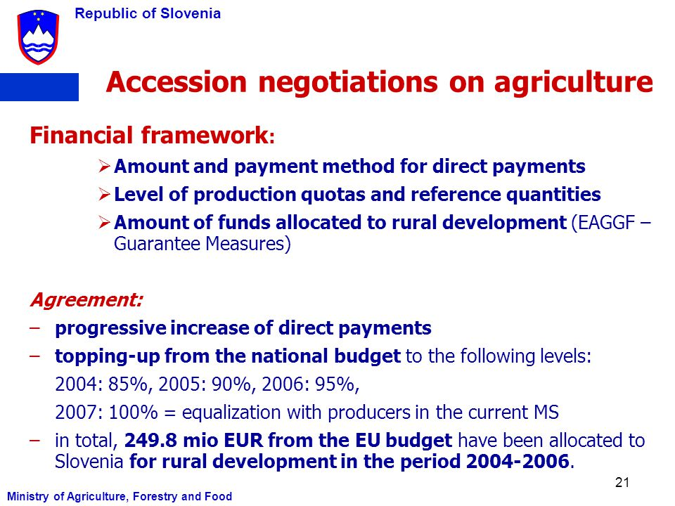 Accession negotiations on agriculture