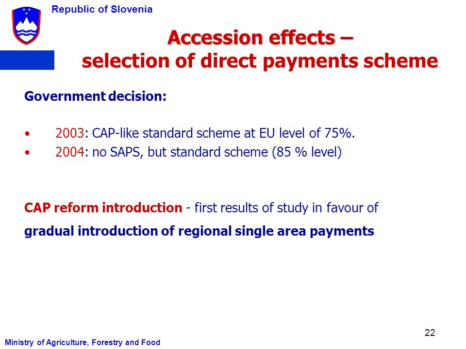 Accession effects – selection of direct payments scheme